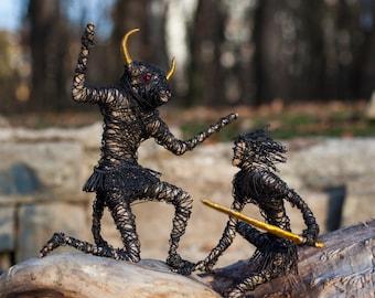 Set Of 2 Greek Figurines, Art Collectibles, Room Decor, Steampunk Art, Metal Figurines, Hand Crafted Figures, Fantasy Home Decor, Folk Art