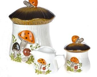 Vintage kitchen mushroom cookie jar - Cookie Jar, Sugar Bowl and mini Creamer Set - Vintage storage - Retro Serving Set - Collectible