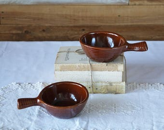 Vintage soup bowls with handles - Set of 2 pottery bowls - Brown glaze - Western USA