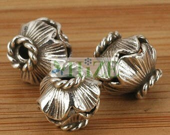 HIZE SB451 Thai Karen Hill Tribe Silver Wavy Oval Bicone Focal Beads 9mm (6)