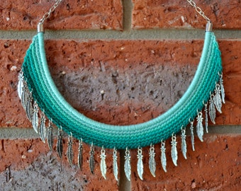 crochet necklace - crochet bib necklace - bib necklace - feather danglers - green crochet - statement necklace - jewellery art - handcrafted