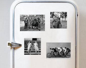 Set of 4 fridge magnets! Four vintage black and white photography retro style refrigerator magnet Once upon a time in America
