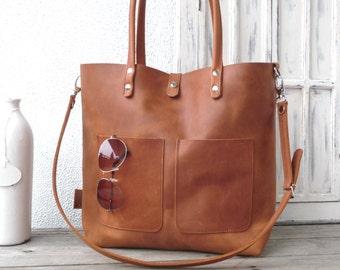 Leather bag, cowhide, full grain, leather tote, distressed leather, leather bag woman, leather tote, laptop bag, Enie frontpocket - cognac!