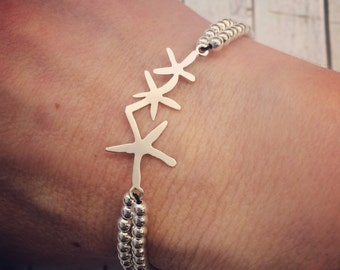Starfish Charm with Sterling Silver Beads, Surf,  Beach Jewellery