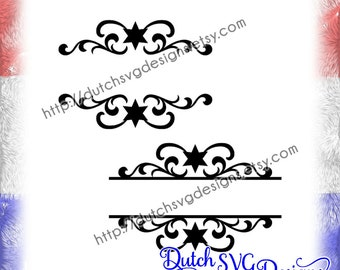 2 Swirly split border cutting files with stars for monogram and text, in Jpg Png Studio3 SVG EPS DXF, for Cricut & Silhouette, decorative