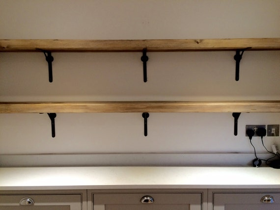 reclaimed wood made to measure chunky kitchen shelves metal. Black Bedroom Furniture Sets. Home Design Ideas