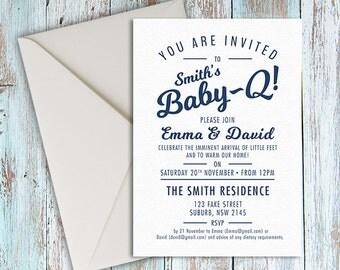 Printed BABY-Q Baby shower invite envelope, Couples Shower Barbecue BBQ, Baby Shower Invite, Baby-que Baby Shower, baby shower invite