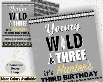Wild Birthday Invitation / Boy Young Wild and Three / Gray and Gold / Tribal / Third Birthday Party Printable Invitations Boy photo BDWild1