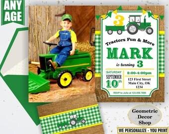 Tractor Birthday Invite, Tractor Invitation, Tractor Birthday Invitations, Yellow, Woodland Green Plaid Boy Girl Photo Photograph Farm BDT31