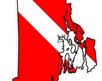 Rhode Island State (B40) Diver Down Flag Yeti Tumbler Decal Sticker Laptop