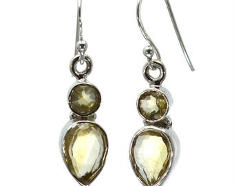 Lemon Quartz Earrings, 925 Sterling Silver, Unique only 1 piece available! color yellow, weight 4g, #27125