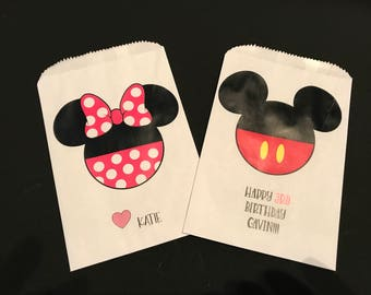 Mickey Mouse Treat bags, Minnie Mouse treat bags, Mickey and Minnie Birthday Party