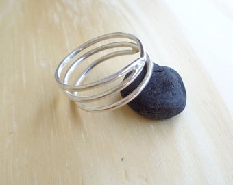 Perfect adjustable silver ring-thin ring-stacked bands-sterling silver wrap ring-silver wrap around ring