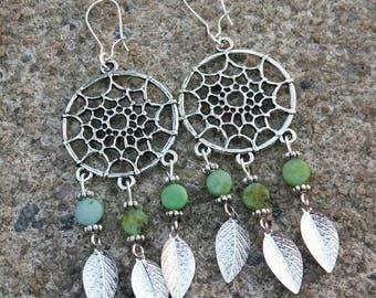 Dreamcatcher earrings - green gemstone earrings - chandelier earrings - beaded leaves earrings - boho dangle earrings - gift for her