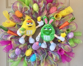 Easter M&Ms Wreath dressed as a Bunny and Chick, Glittered Eggs, Carrots, Baby Chicks