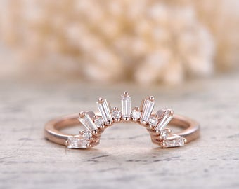 deco crown diamond wedding bandsolid 14k rose gold promise ring baguette cut si - Crown Wedding Rings