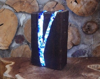 BLUE LED Table Lamp Made from Recycled Wood & Glass -- Unique Accent Lamp for any Decor. It's a Remarkable Eye Catcher