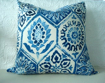 Decorative Pillow Cover - Home Accessory - Accent Pillow - Blue Creamy White - Throw Pillow - Sofa Pillow