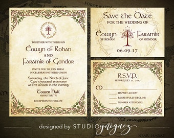 medieval wedding printable invitation suite renfaire printable invitation save the date response card - Medieval Wedding Invitations