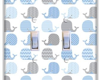 Whale Blue Gray Light Switch Plate Cover Girls Boys Nursery Decor Bedroom Pattern Print
