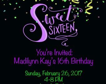 16th Birthday Invite
