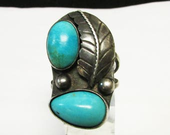 Vintage Estate Silver 2 Turquoise Stone Southwestern Ring