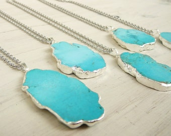 Turquoise Pendant Necklace Gift for women Blue Necklace Gemstone Necklace Turquoise Silver Necklace Stone Pendant Turquoise Necklace womens