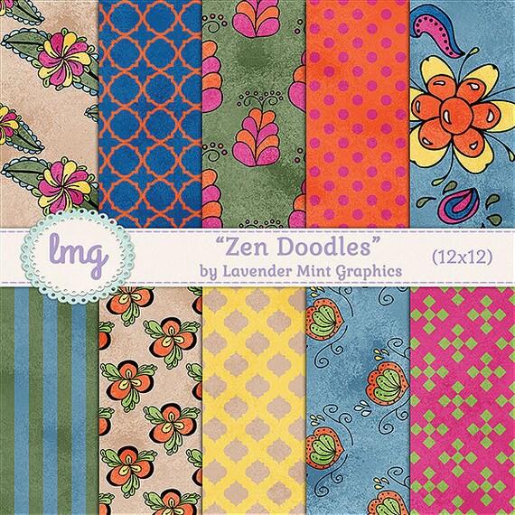Zen Doodles Digital Scrapbook Paper - Zen Flowers, Zentangle, Hand Drawn Flower Doodles, Party Paper - Instant Download, Commercial Use