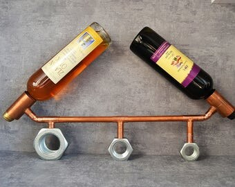 COPPER BOTTLE HOLDER 17 - industrial wine holder - industrial wine display - kitchen furniture - bar furniture - wine display