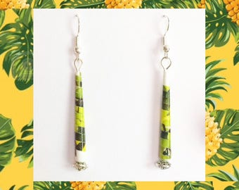"Rolled paper - ethnic simple ""Tropical"" earrings - silver media"