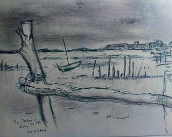 Sol Wilson Original Ink and Crayon Drawing