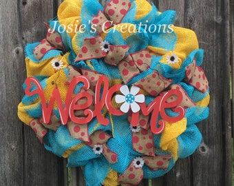 Bright summer welcome wreath