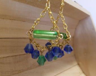Green and blue chandelier earrings