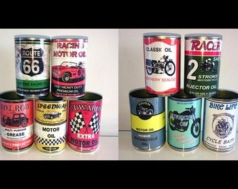 vintage classic motor oil cans garage reproduction display props gas station mechanics collectible rustic or normal option of lids