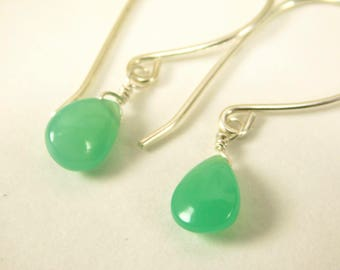 CHRYSOPRASE Teardrop Earrings - Chrysoprase Gemstone Earrings - Sterling Silver - Natural Gemstone Earrings - Mariel Cristofar jewelry