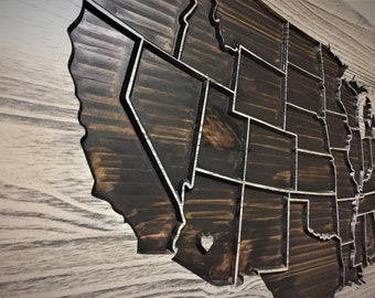 Push Pin Map Wooden Us Map Wood Wall Art Home Wall Decor