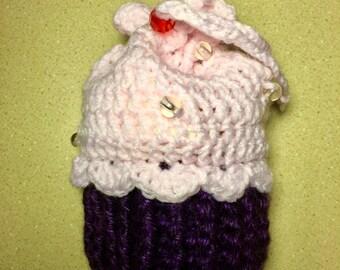 Crochet Cupcake Drawstring Pouch