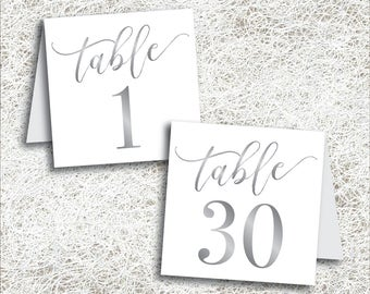 Printable Silver Tented Table Numbers 1 - 30   Instant Download   Printable Wedding Table Numbers   Tent Folded Gray Grey Number (FROST Set)