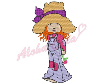 Machine Embroidery Design cute little girl with straw hat - multiple sizes - Instant Digital Download