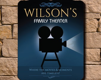 Family Theater Personalized Wall Sign - Home Decor for Theater Room and More, Great Custom Gifts for Movie Lovers, Blue, Black, Film Camera