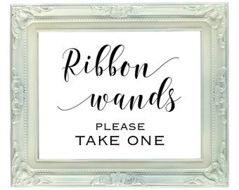 Ribbon Wands sign, 8x10 printable ribbon wand sign, Digital Instant download, Ribbon Wand send off sign, Please take one, wedding reception
