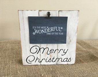 Wooden Pallet-Style Christmas/Holiday/Winter Photo Clipboard/Photo Display/Clip Board/Picture Hanger for 4x6 Horizontal Photo