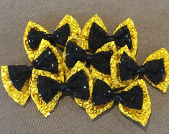 Emma yellow/black hair bow on elastic comb or clip