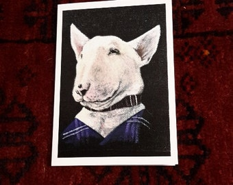 English Bull Terrier Greetings Card - Blank inside for your own message