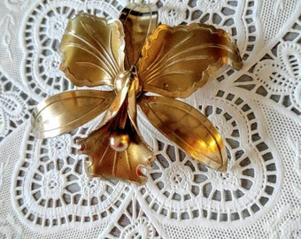 GORGEOUS Orchid Vintage Gold Brooch-Flower/Floral-Large Piece-All Orders Only 99c Shipping!