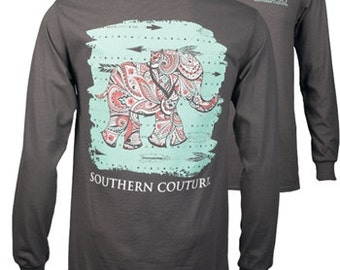 Preppy Elephant Southern Couture Tee new Long Sleeve