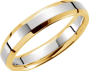 Ladies Two Tone Wedding Band 4mm Comfort Fit with Beveled Edge in Solid 14K Yellow & white Gold Stackable Ring in Size 4 to 9