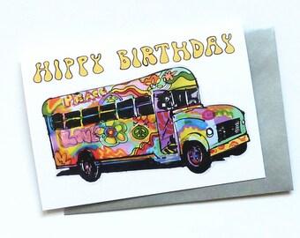 Hippy Bus Birthday Greeting Card