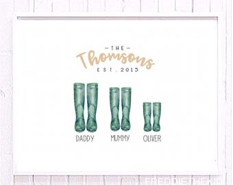 A4 Personalised Wellington boot/ Welly Family print