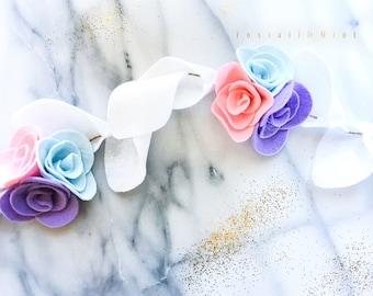 Unicorn Rose Trio Nursery Garland, Nursery Decor, Felt Flower Nursery Decor, Bridal Shower, Felt Flower Garland, Felt Rose Garland